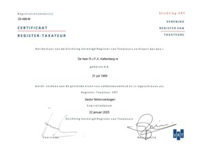 Taxatie door een beëdigd register taxateur motorvoertuigen – Katteberg-Expertise
